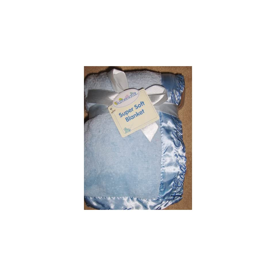 Sumersault Super Soft Gods Little Miracle Baby Blanket Blue with Blue satin  trim 0323a8e54