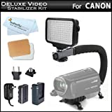 10-Piece Pro 120 LED Dimmable On-Camera LED Video Light Kit Case + Pro Action Stabilizing Handle For Canon VIXIA HF R82, HF R80, HF R800, HF R700, HF R72, HF R70, HF G20, HF G30, HF G40 HD Camcorder