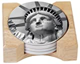 CounterArt Lady Liberty Design Absorbent Coasters in Wooden Holder, Set of 4