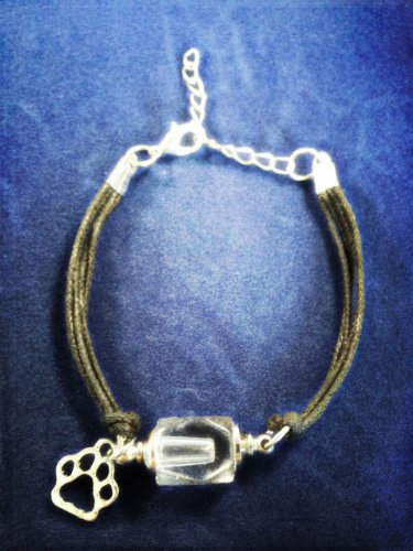PET CREMATION URN BRACELET with Silver PAW Charm - Includes Funnel and Velvet Pouch
