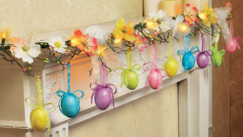Glittered Easter Egg Lighted Garland LED Lights