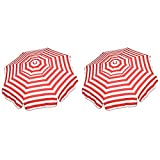 Italian 6' Acrylic Stripes Red/White Outdoor Patio Umbrellas, 2-Pack