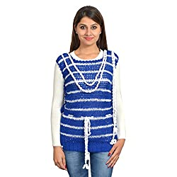 MOM's Touch Women's Sweater (TWINKLINGSTARSMALL_Blue White_Small)