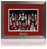 Large Bryan Robson hand signed Manchester United FA Cups montage (PP404)