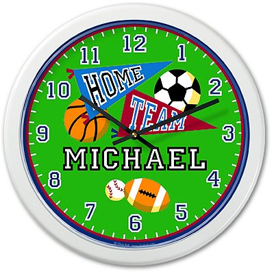 Olive Kids - Game On Personalized Clock (White) front-925940