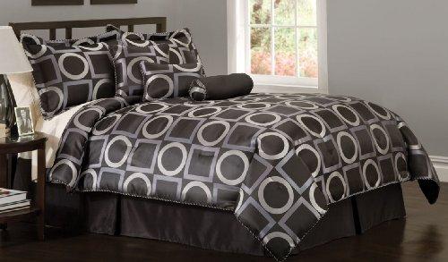 Geo Grid Black King Comforter Set with Bonus Pillows