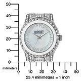 Badgley Mischka Women's BA1121WTSV Swarovski Crystal Accented Silver-Tone White Enamel Dress Watch