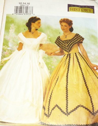 OOP Butterick Making History Pattern 6693. Misses Szs 12;14;16 Civil War Era? Dresses