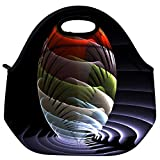 Snoogg Waves Globe Travel Outdoor Carry Lunch Bag Picnic Tote Box Container Zip Out Removable Carry Lunchbox Handle Tote Lunch Bag Food Bag For School Work Office