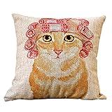 i-BOSOM 猫家族 クッションカバー 枕カバー ピローケース インテリア 45×45cm (パーマ美人)