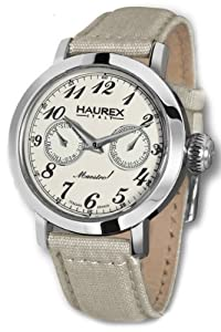Haurex Italy Women's 6A343DC1 Maestro Day and Date Beige Canvas Band Watch