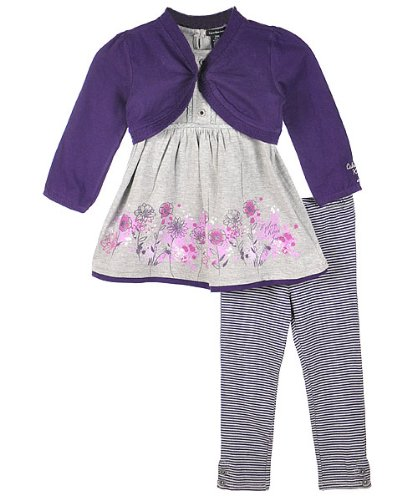 Kids Headquarters Baby-girls Infant 3 Piece Sweater Tunic and Leggings Set, Multi, 24 Months