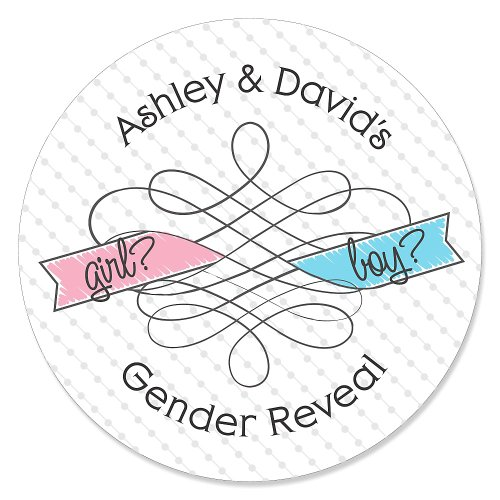 Gender Reveal - 24 Round Personalized Baby Shower Sticker Labels front-699071