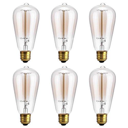Edison Bulb,Oak Leaf 40W Filament Long Life Vintage Antique Style Incandescent Clear Glass Light Bulb,E26 E27 Medium Base,2400K,Soft White,6 Pack (Edison Bulb Chandelier E26 compare prices)