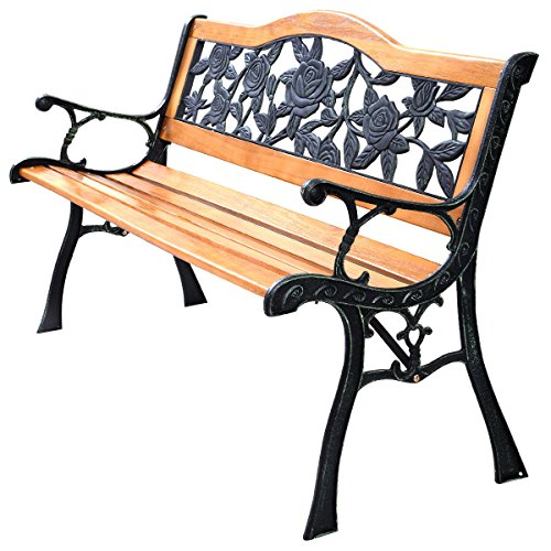 Patio Park Garden Bench Porch Path Chair Furniture Cast Iron Hardwood New (Cast Iron Garden Arbors compare prices)