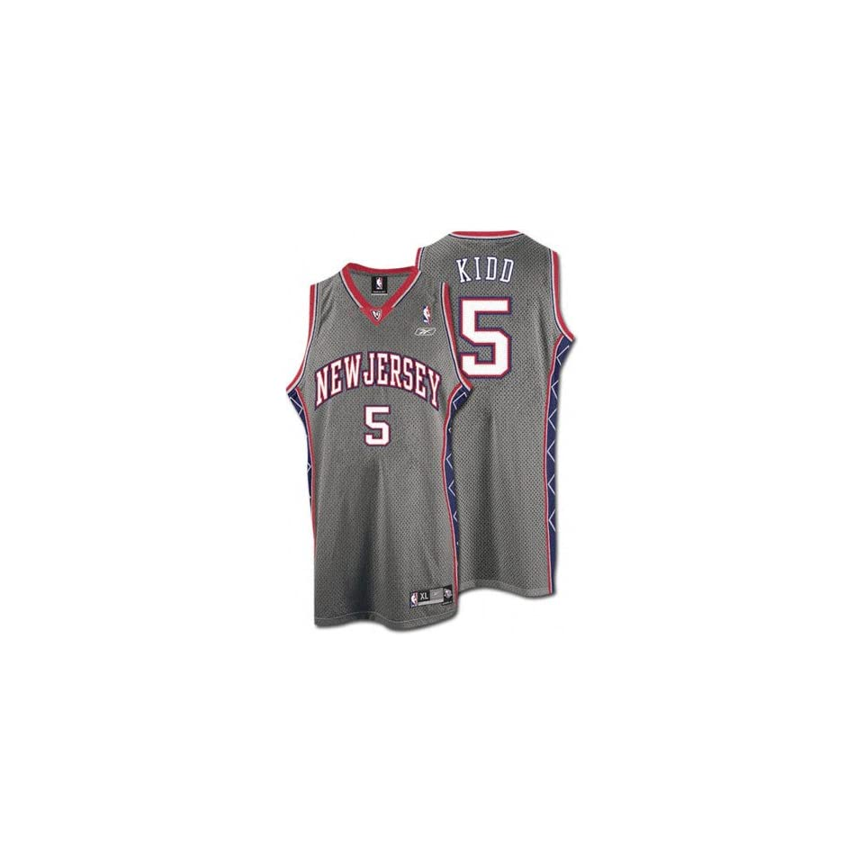 fb4ed1bff48d Jason Kidd Grey Reebok NBA Swingman New Jersey Nets Jersey on PopScreen