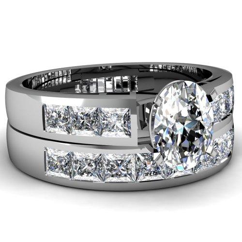 1 Ct Oval Shaped Diamond Engagement Wedding Rings