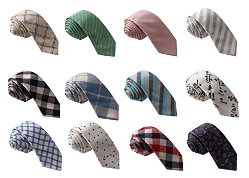 Skinny Tie Madness Men's Fashion Bundle of 12, 2