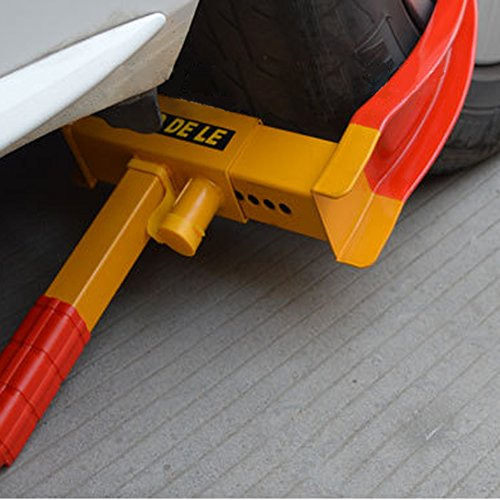 Flexzion Wheel Lock Clamp Anti-theft Towing Parking Boot Tire Claw Heavy Duty Adjustable for Auto Car Truck Rv Boat Trailer Automotive Golf Carts with Three Keys in Red & Yellow (Master Wheel Lock Kit compare prices)