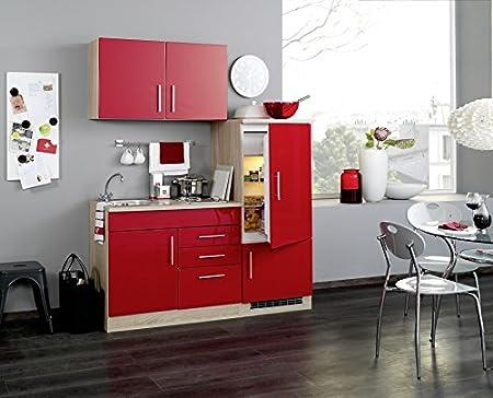 Burokuche 160 cm Hochglanz Rot mit Geräten - Vancouver