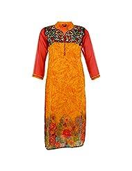 Karni Women's Georgette Yellow & Red Kurti