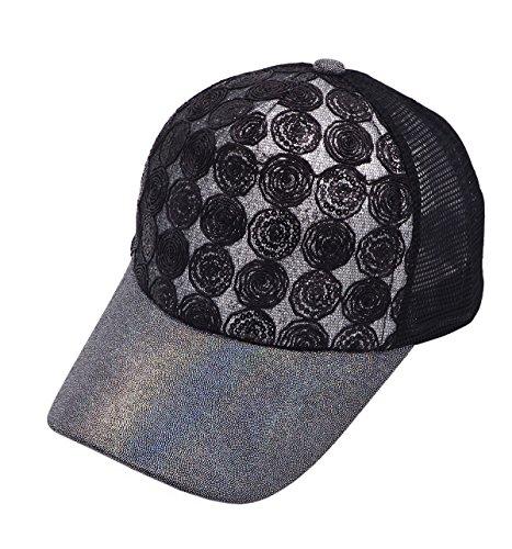 [Vegali Fashion Unisex Sequins Adjustable Hip Hop hat Baseball Cap Snapback Hat (GrayBlack)] (Pork Pie Hat For Sale)