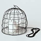 Halloween Hanging Wire Rat Cage with 2 Rats, on a Bungee Cord, 7 Inches
