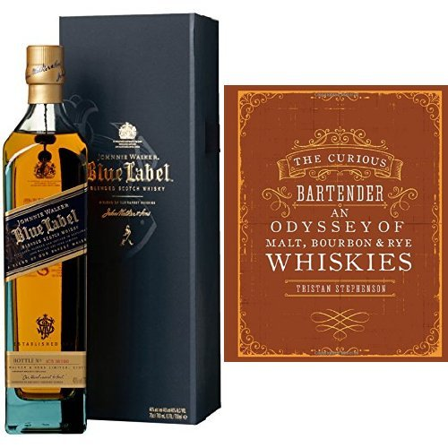 discount duty free Johnnie Walker Blue Label Blended Scotch Whisky and The Curious Bartender: An Odyssey of Malt, Bourbon & Rye Whiskies Book