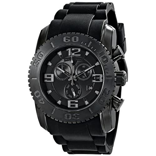 Swiss Legend Men's Commander 47mm Chronograph Black Silicone Band Swiss Quartz Date Watch 10067-BB-01-PHT