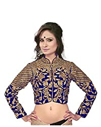 Bollywood Designer Embroidered Valvet Blue Blouse Material (SEMISTICHED)