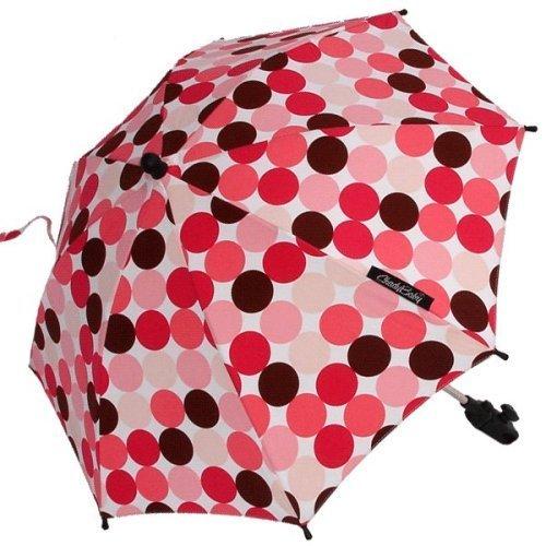 "ShadyBaby Pink-Brown Polka Dots Stroller Parasol, SPF 50+ Stroller Umbrella - 24"" Diameter"