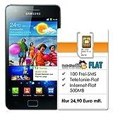 Samsung Galaxy S II (4.3 Zoll) schwarz + DeutschlandSIM Flat  - Ohne Vertragslaufzeit (All-Net-Flat, 100 Frei-SMS, 500MB Daten-Flat, 24,90 Euro/Monat) o2-Netz