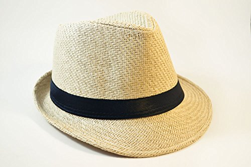 Solid Band Summer Straw Fedora - Khaki Black W20S58B (Large)