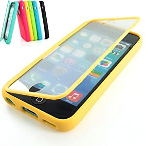 iSee Case Yellow Gel Slim TPU Protective Cover Case Built in Screen Protector for Apple iPhone 5C