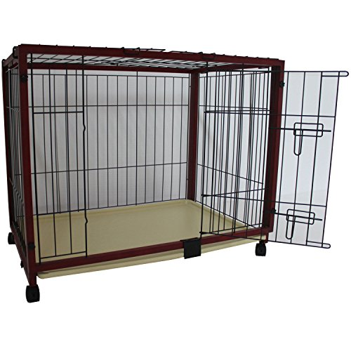 "New Portable Pawhut Brownish Red Wood & Wire 46.5""X24.4""X28"" Pet Dog Cage Crate front-443288"