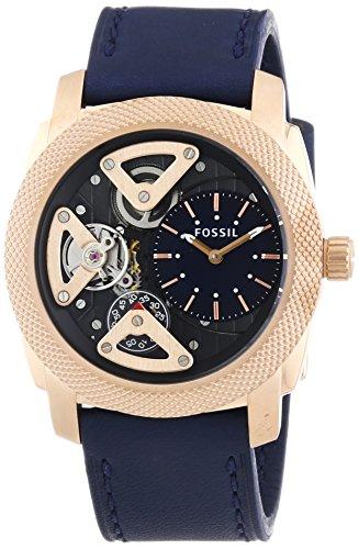 Fossil Machine Twist - Reloj de cuarzo para hombre, correa de cuero color azul