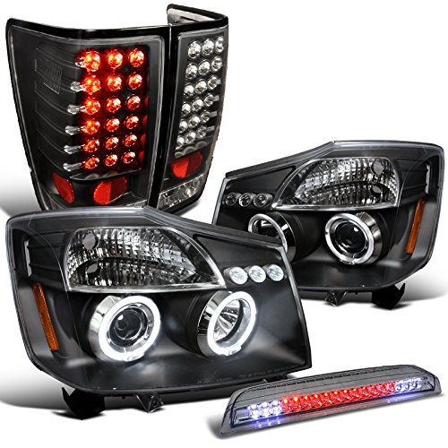 Nissan Titan Black Halo Projector Headlights+LED Tail Lamp+3rd Rear Brake Light (04 Nissan Titan Halos compare prices)