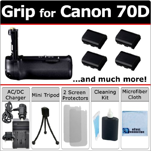 Professional Eos 70D Multi Purpose Battery Grip For Canon Eos 70D Dslr Camera + 4 Lp-E6 Long Life Batteries + Ac/Dc Charger For Home And Car + Complete Deluxe Starter Kit By Ecost (Bg-14 Bg14)