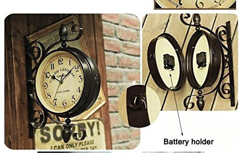 KiaoTime European Vintage Double Sided Station Metal Wall Clock Art Clock Decorative Double Faced Wall Clock 360 Degree Rotate, Dark Brown Color