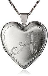 Heart-Shaped Rhodium-Plated Brass Locket Necklace