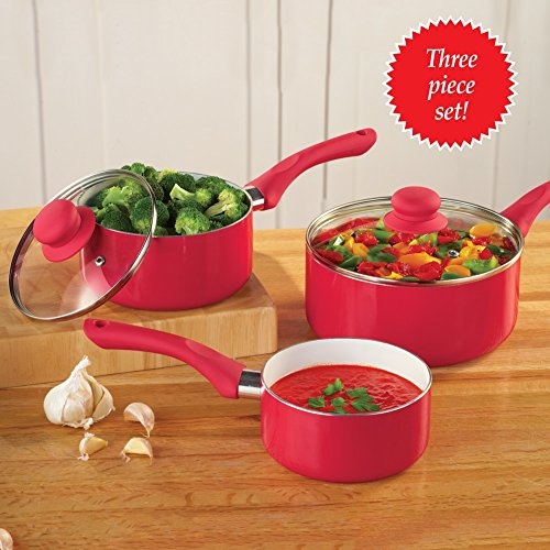 Sauce Pans with 2 Lids- Set of 3 (Sauce Pans Sets With Lids compare prices)