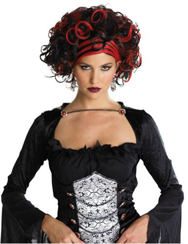 Wicked Widow Wig Black/Red Halloween Costume - 1 size