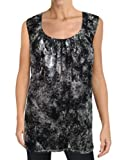 Michael Michael Kors Women's Tank Top 1X Plus Black Silver Metallic