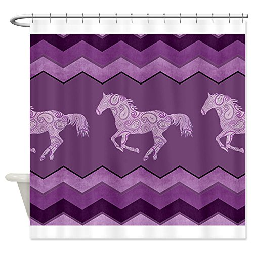 Purple Paisley Horse Shower Curtain - Standard White