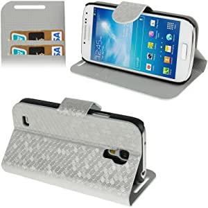 Honeycomb Texture Flip Leather Case with Credit Card Slots & Holder for Samsung Galaxy S4 Mini i9190 (Silver Grey)