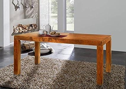 Table à manger 240x100cm - Bois massif d'acacia laqué (Miel) - OXFORD #0105