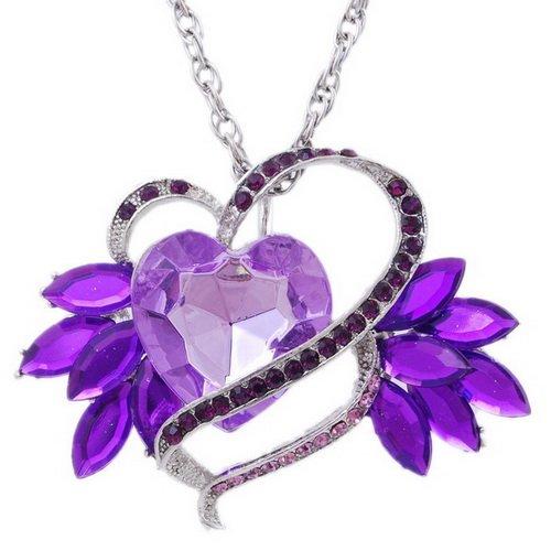 Imitate Zircon Pendant Necklace Wedding Chain Alloy Heart Rhinestone PURPLE