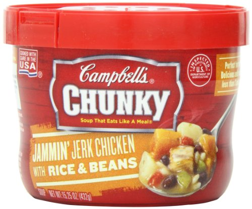 Campbell'S Chunky Jammin' Jerk Chicken With Rice & Beans Soup, 15.25 Ounce Microwavable Bowls (Pack Of 8)