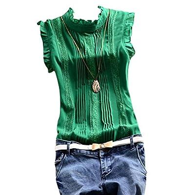 Weixinbuy Women's Sleeveless Chiffon Blouse Casual Shirt
