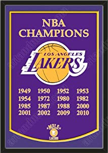 Dynasty Banner Of Los Angeles Lakers With Team Color Double Matting-Framed Awesome... by Art and More, Davenport, IA